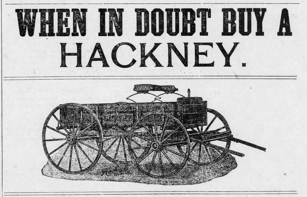 Advertisement for the Hackney Wagon Co., from the Warrenton Record (Warrenton, NC), April 13, 1906.
