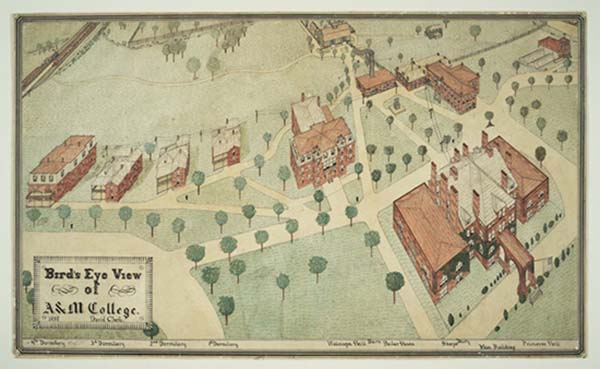 "A ""bird's eye view"" of the campus of the North Carolina College of Agriculture and Mechanic Arts, 1897."