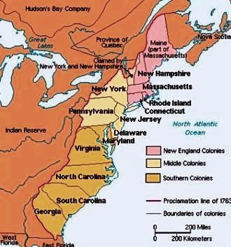 This is a map of the 13 colonies with color-coded divisions for New England, Middle and Southern Colonies.
