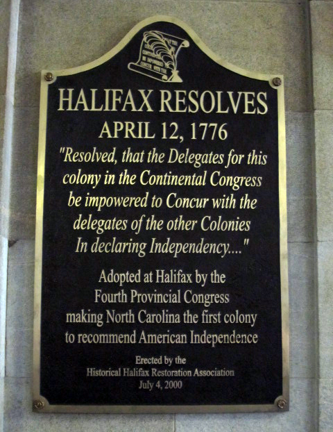 Photograph of the Halifax Resolves commemorative plaque in the North Carolina State Capitol.  Image used Courtesy of Commemorative Landscapes of North Carolina.