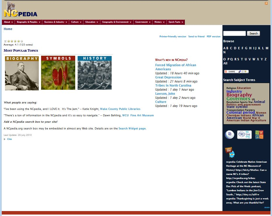 Snapshot of the NCpedia homepage from the very beginning in 2010, from the Wayback Machine.