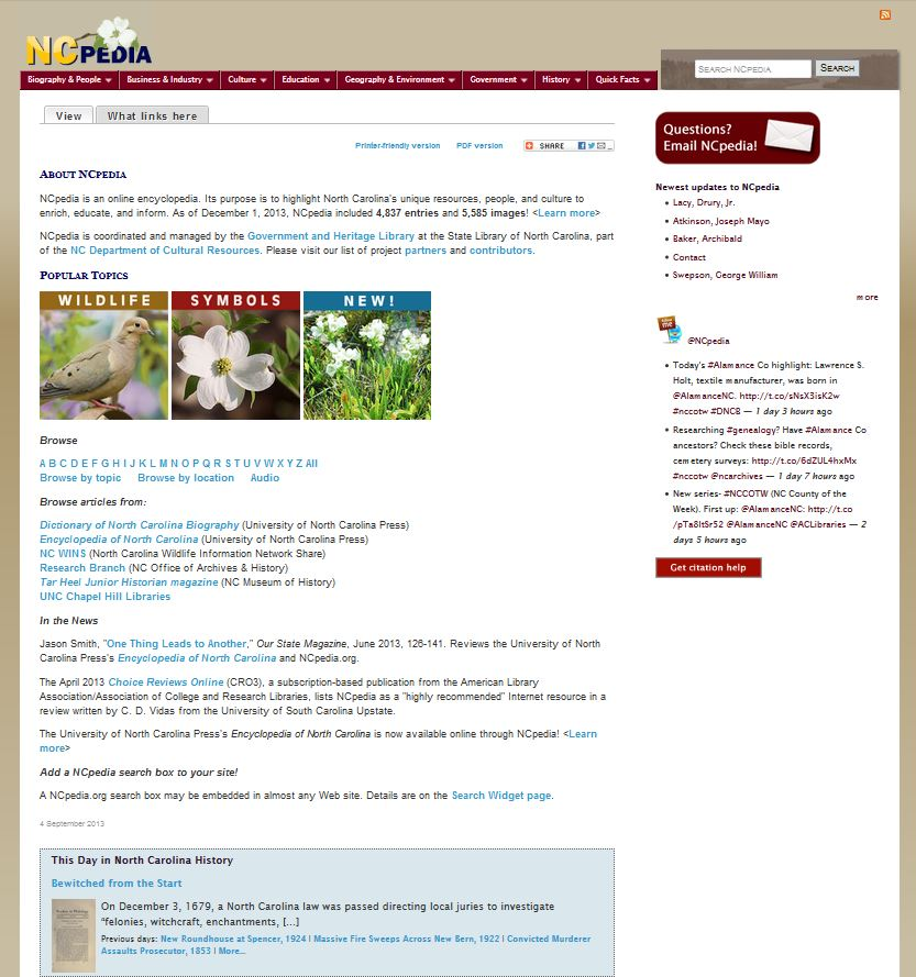 Snapshort of the NCpedia homepage, from the Wayback Machine, December 2013.