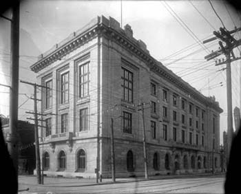 Photograph ca.1914 of the building that housed the State Library of North Carolina from then until 1969. Today the building at 1 E. Morgan Street in Raleigh houses the N.C. Court of Appeals. Image from the collection of the State Archives of N.C.
