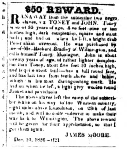 Ad advertising a reward for two runaway slaves-- Toney and John -- published in the December 10, 1836 edition of the Carolina Watchman.