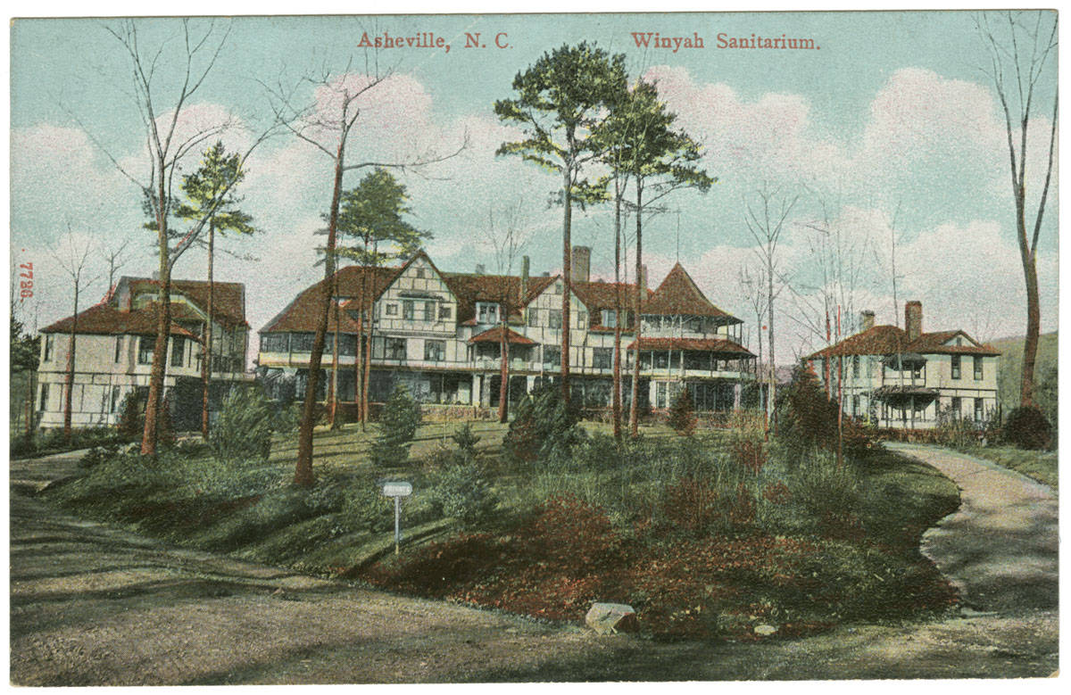 Postcard showing the Winyah sanatorium and its landscaping and driveways