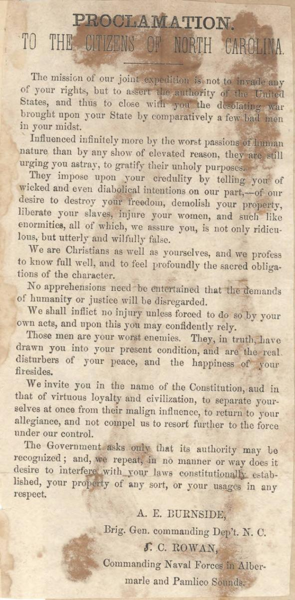 Newspaper clipping of Burnside's proclamation