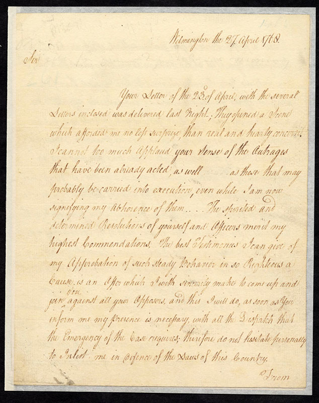 Governor William Tryon's to reply to Edmund Fanning's letter of April 23, 1768. From the Colonial Governors' Papers Records, State Archives of North Carolina.
