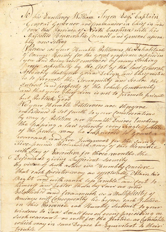 Image of the handwritten petition of Orange County from 1768