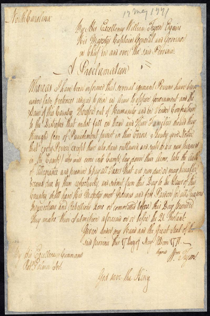Image of a handwritten page from the Papers of William Tryon