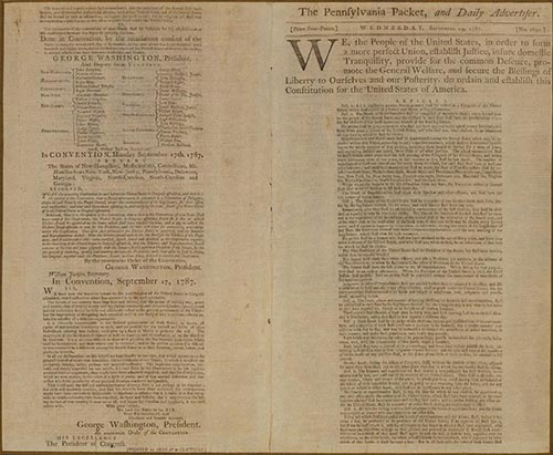 An image of the first printing of the Constitution of the United States, printed on September 19, 1787 in The Pennsylvania Packet and Daily Advertiser. The National Constitution Center houses this rare, original.