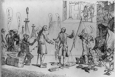 "Print shows George Grenville holding a balance with scales ""Debts"" and ""Savings"", the debt far outweighs savings; among those in line to contribute their savings is a Native American woman representing America, she wears a yoke labeled ""Taxed without representation"". A melancholy Britannia sits on the far right."