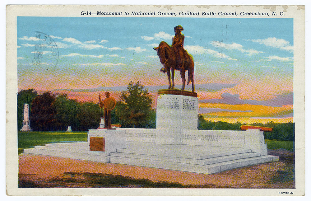 Postcard image of the Monument to Nathaniel Greene at Guilford Battleground in Greensboro, N.C.  The March 1781 battle was one of the most significant fought in N.C. and occurred near the end of the war. Although General Greene's Patriot forces lost, they severely weakened the British forces under Cornwallis, leading to Cornwallis's surrender at Yorktown later that year.