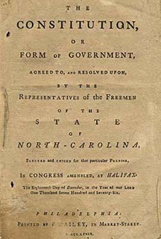 This is an image of North Carolina's 1776 Constitution that was printed in 1776. Image is available via the University of North Carolina's Document the South Collection.