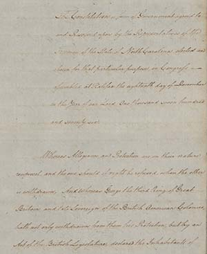 This is an image of the handwritten original of North Carolina's 1776 Constitution.