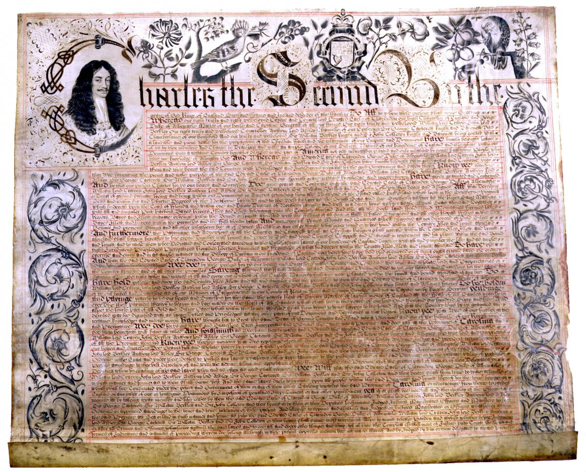 Scan of the Carolina Charter, 1633.