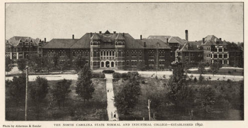 Black and white photograph of the North Carolina State Normal and Industrial College