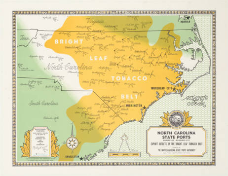"Map of the ""Bright Leaf Tobacco Belt,"" courtesy of UNC Libraries."