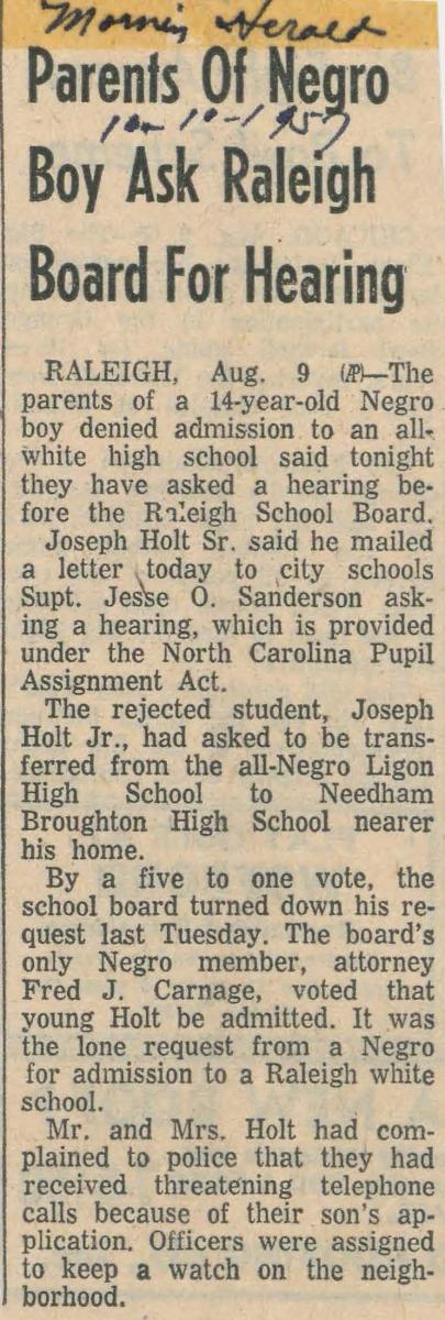 "This is an image of the article titled ""Parents of a negro boy ask Raleigh board for hearing"" from August 9, 1957."