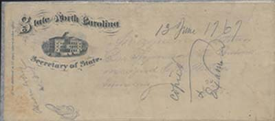 This is an image of the folded paper that served as the envelope for the 1767 Boundary Agreement.