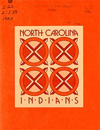 This is an image of the cover of the 1983 publication North Carolina Indians, published by the North Carolina Commission of Indian Affairs and the North Carolina Department of Administration.