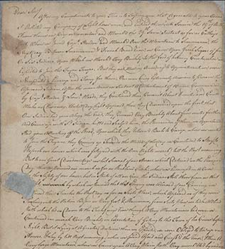 This is an image of the a portion of the handwritten original of Captain Moore's letter to General Rutherford. A scan of this original is available via UNC's Historical Southern Collection.