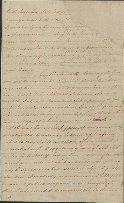 "Image of the handwritten ""A petition to protect families of loyalists"""