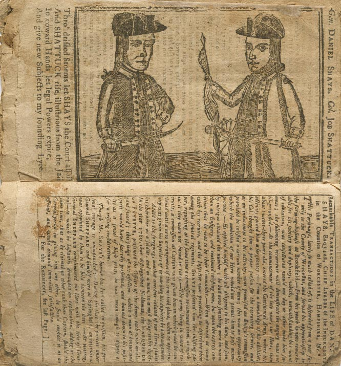 This is an image of the newsprint containing a sketch of Daniel Shays and Job Shattuck from National Portrait Gallery, Smithsonian Institution.