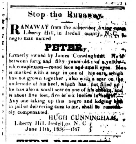 Ad advertising a reward for a runaway slave -- Peter -- published in the June 11, 1836 edition of the Carolina Watchman.