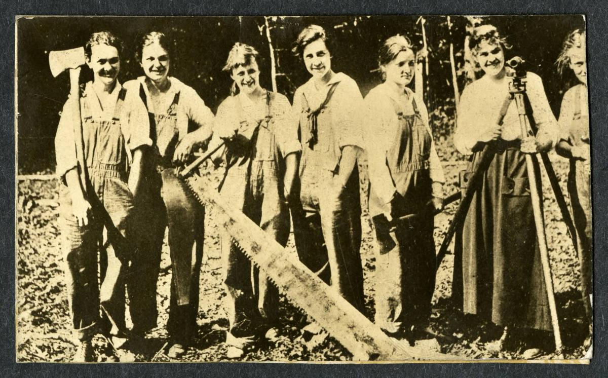 Photograph showing the Carpenterettes, a student group at the North Carolina State Normal and Industrial College (now The University of North Carolina at Greensboro) during World War I.