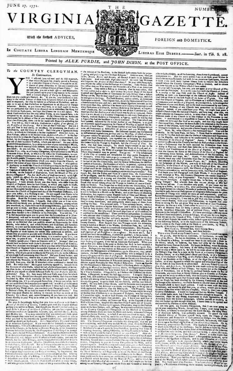 Image of the front page of the Virginia Gazette
