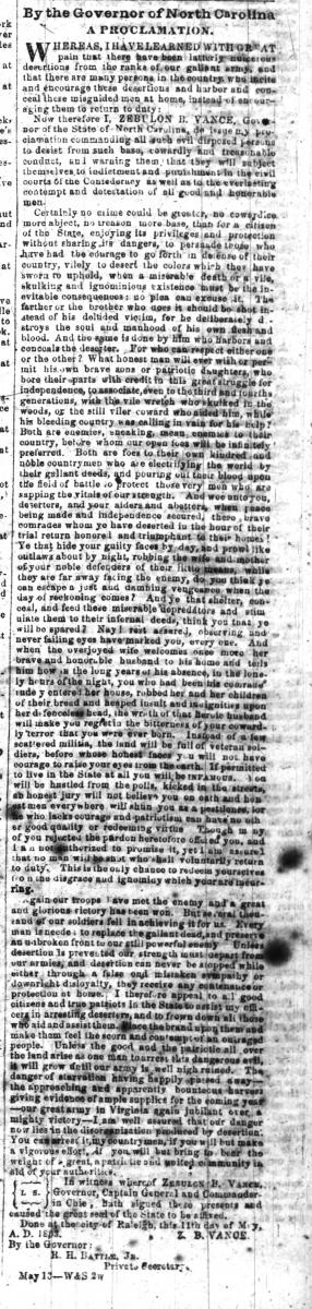 Vance's proclamation was published in the Weekly Raleigh Register on Wednesday, May 20, 1863.