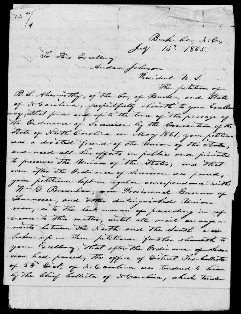 R. L. Abernathy's handwritten application for pardon and amnesty from the National Archives.