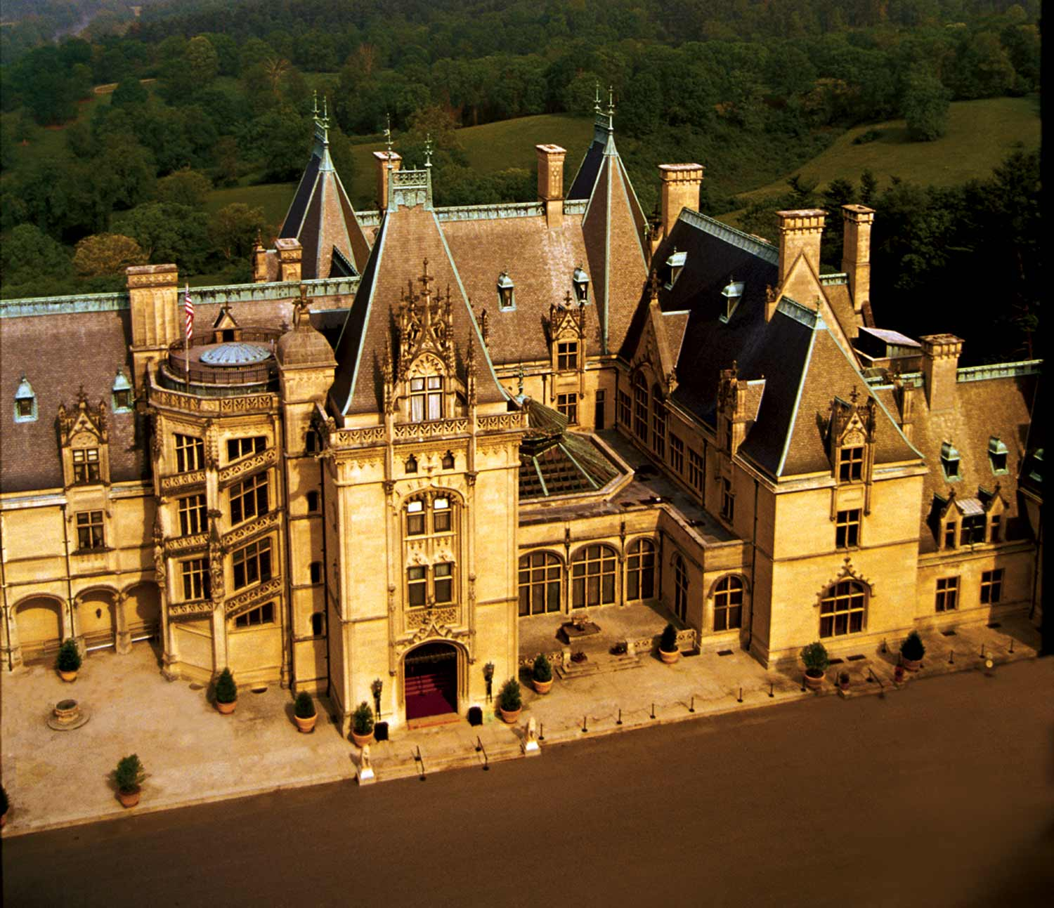 An aerial view of the extensive and extravagant Biltmore Mansion