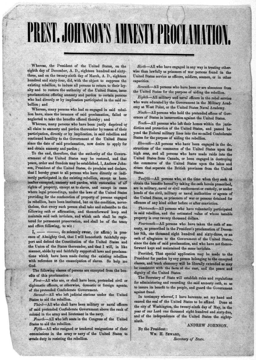 An 1865 printing of President Johnson's amnesty proclamation