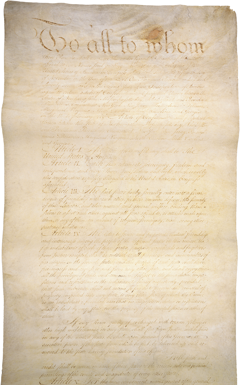This is an image of the first page of the Articles of Confederation