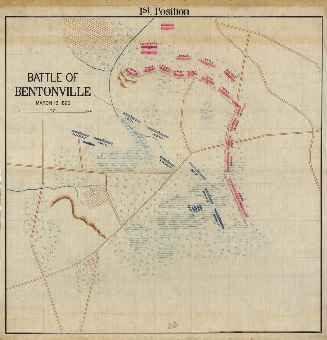 Maps of the Battle of Bentonville, includes details on both Federal and Confederate commanding officers of each brigade. Courtesy of the Library of Congress.