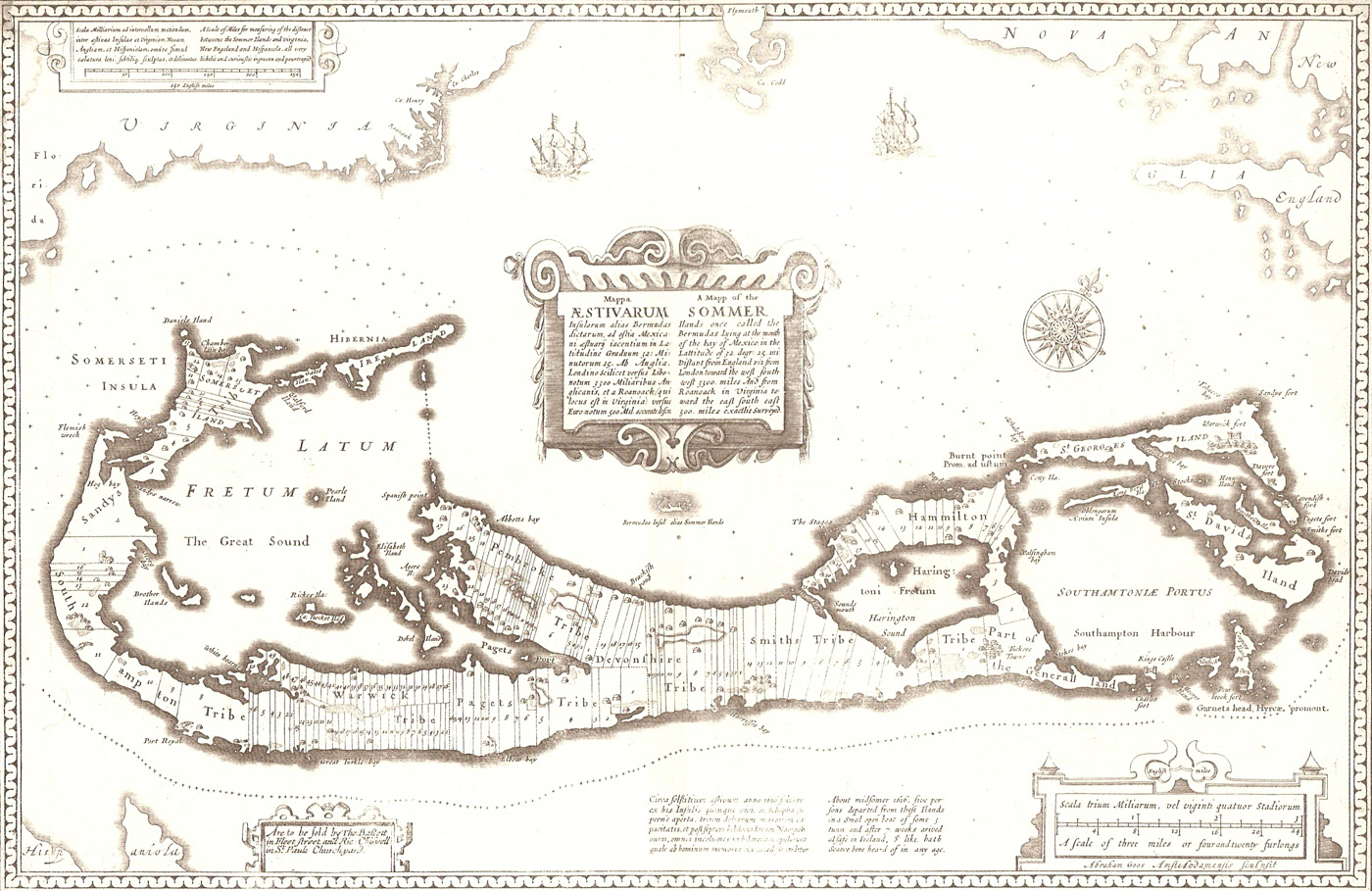 John Speed's 1676 map of Bermuda