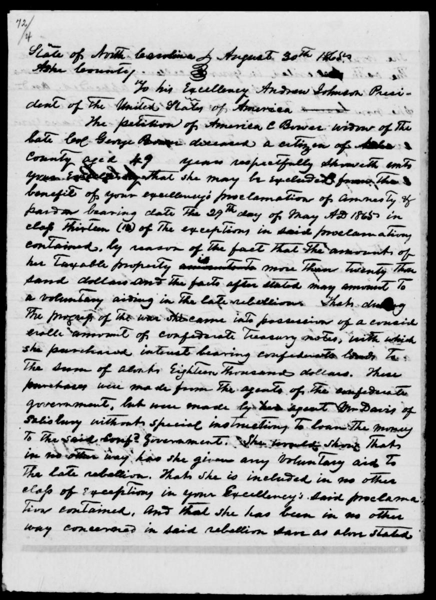 America C. Bower's handwritten application for pardon and amnesty from the National Archives.