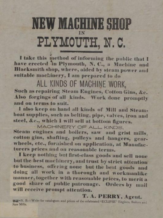 A broadside advertising a new machine shop in Plymouth, North Carolina, published sometime in the 1880s.