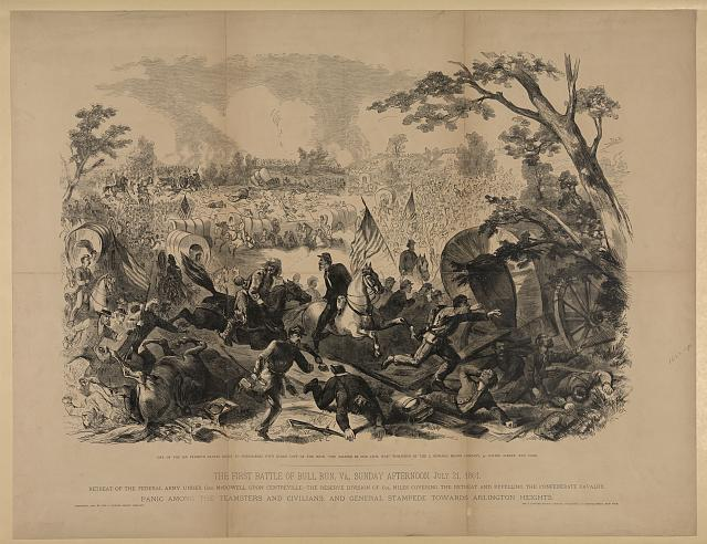This print illustrates the first Battle of Bull Run, Va., Sunday afternoon, July 21, 1861.