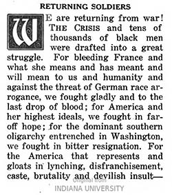 "Image of the opening paragraph of an editorial, ""Returning Soldiers"", by W.E.B. Du Bois in the ""The Crisis,"" May 19. Click on the image to learn more."