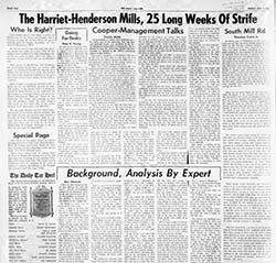 "Image of a page from UNC's student paper ""The Daily Tarheel"", May 1, 1959, with extensive coverage of strike at Harriet-Henderson."