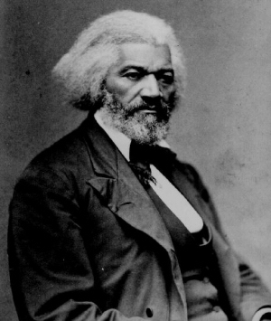 Black and white image of Frederick Douglass.