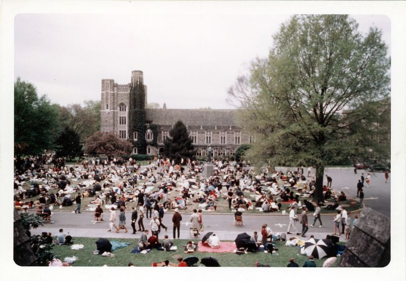 This is a photograph of Students at Duke University holding a vigil after the death of Martin Luther King, Jr., in 1968.