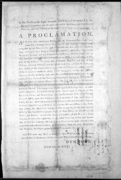 Image of the printed text of Lord Dunmore's Proclamation, made on November 7, 1775.  Part of the proclamation promised freedom to slaves who would leave their Patriot masters to join Dumore's forces and the British Army.