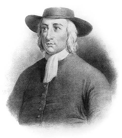 Engraving of George Fox, the founder of the Society of Friends, also known as the Quakers.