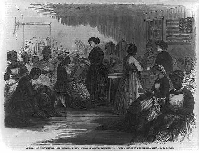 Engraving of freedwomen sewing.