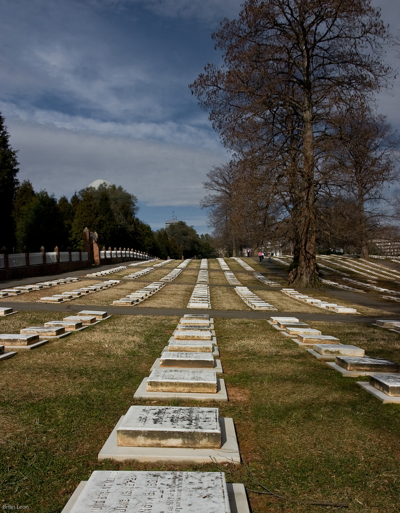 God's Acre in Old Salemn, North Carolina, with rows of grave markers.