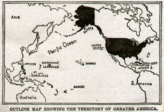 Map shows the extent of U.S. territories and possessions after the Spanish-American War.