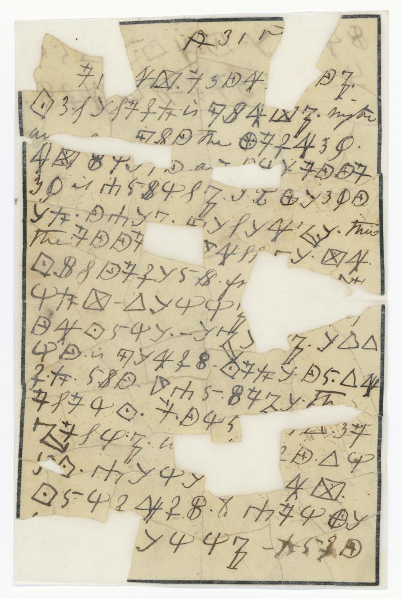 Letter written in cipher by Rose Greenhow.